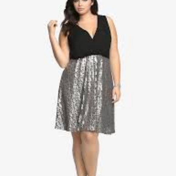 Torrid black sequin dress plus size 1